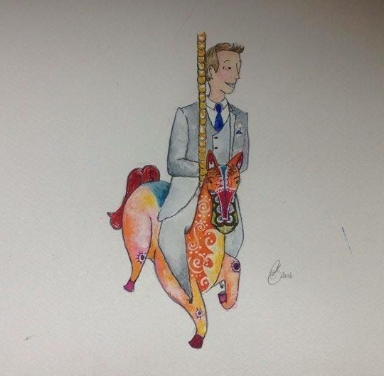 Amanda Bathory Merry go round cardiff bay illustration groom.jpg