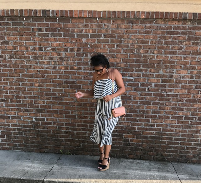 Jumpsuit: Hope's Shoes: Charlotte Russe Purse: Zara Hoop Earrings: Shop In Real Life           Glasses: Local Beauty Supply Store