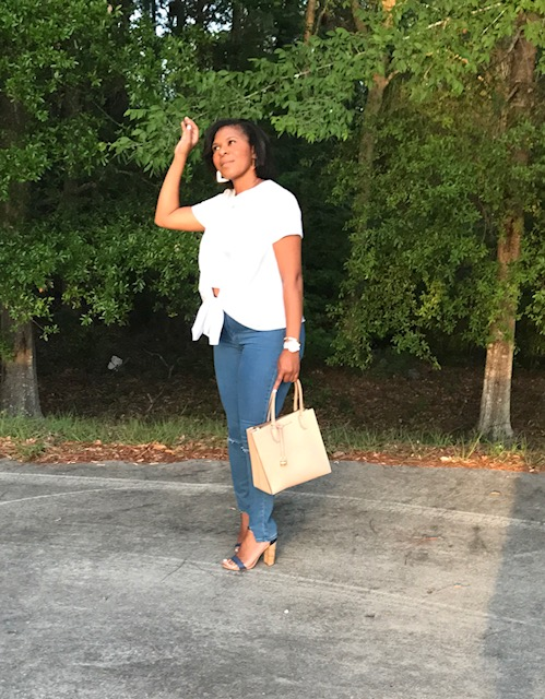Shirt:  Goldfinch Boutique  Jeans:  Forever 21  Shoes:  Steve Madden                 Purse:  Michael Kors