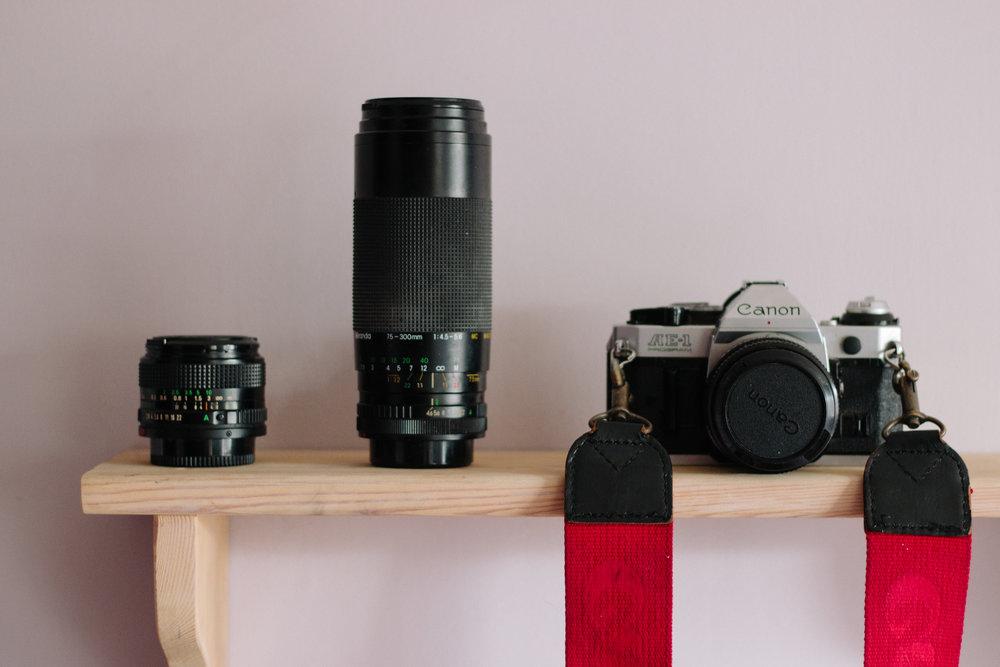 Canon 28mm f2.8 lens, Canon AE-1
