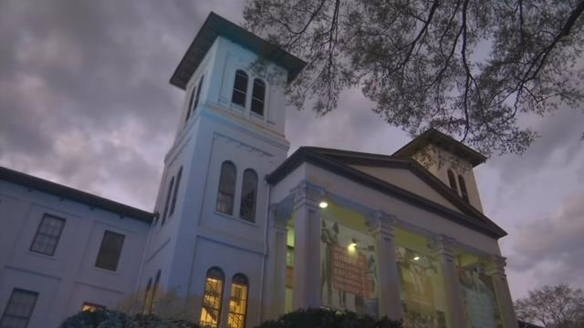 The main building at Wofford College turns blue for autism.