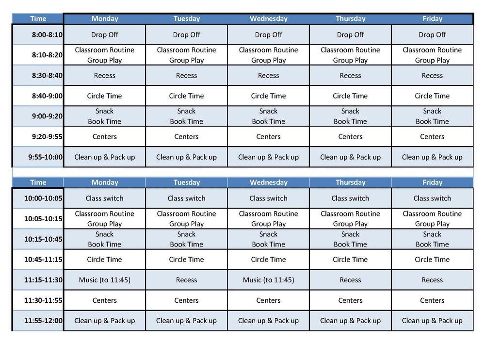 BTG Preschool Weekly Schedule