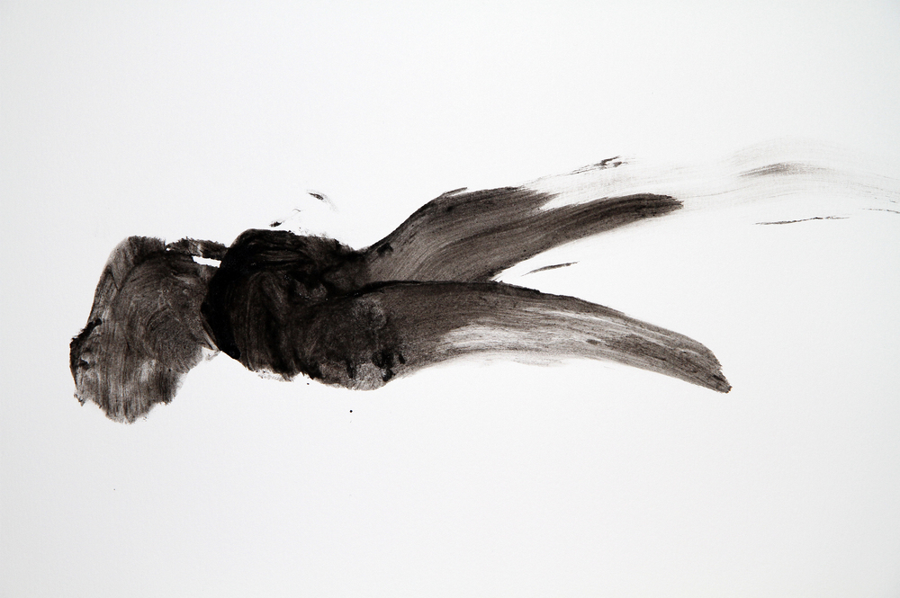 Attempting to Capture Taste (Movement #2)  (detail view) 2012 Squid ink applied by tongue on paper 30x40 inches