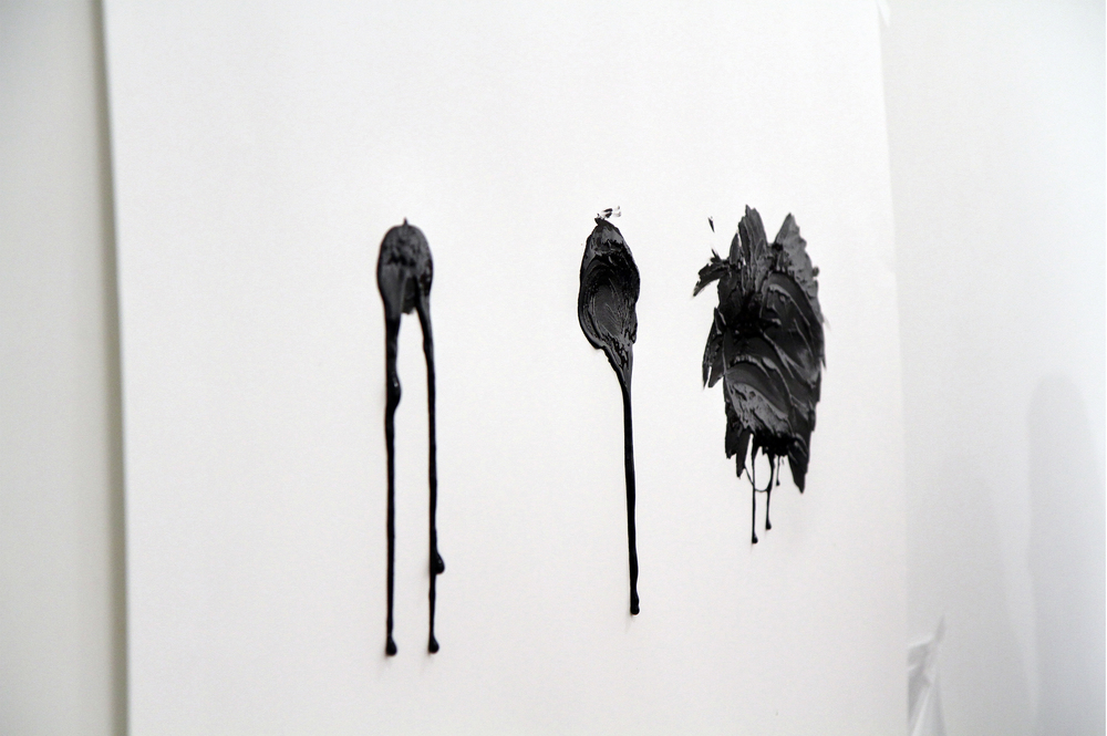 Attempting to Capture Taste (Spication, Rotation, Verrition)  Squid ink applied by tongue on paper (performance painting detail) Performance duration 9:54 minutes Jaus Gallery, West Los Angeles, CA. November 10th, 2012  Photo Courtesy of Sean Flaherty