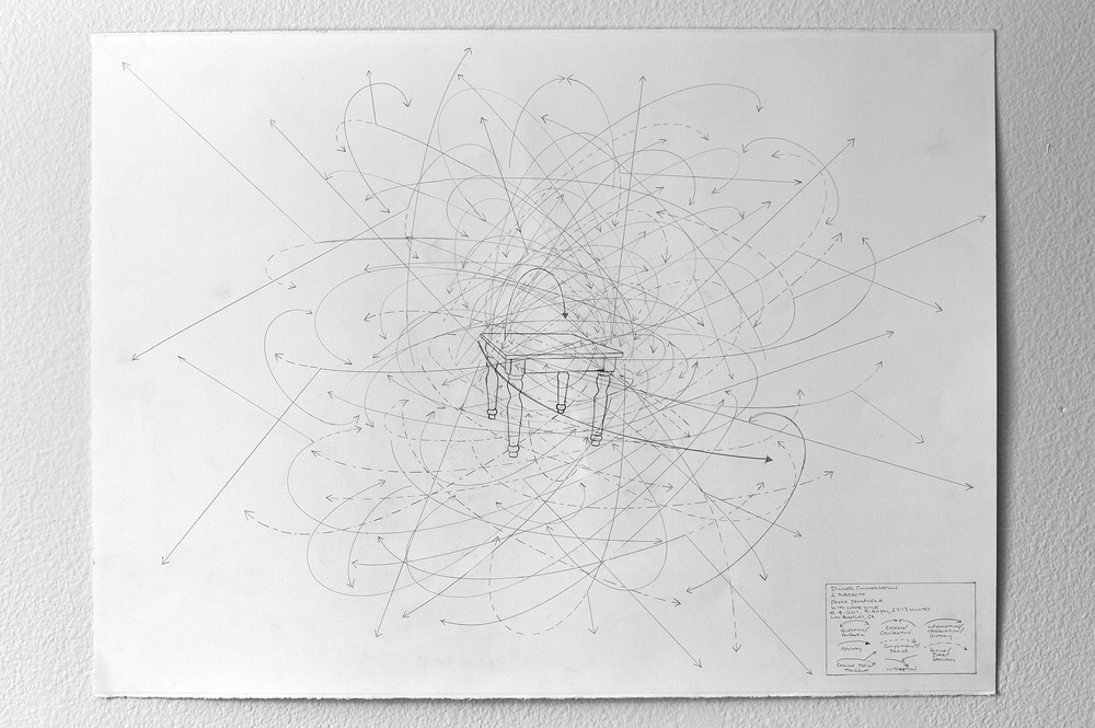 Dinner Conversation: 2 subjects, Pasta Primavera with White Wine. 05/09/2011, 9:40PM, 27:17 Minutes, Los Angeles, CA.  2011 graphite on paper 22X30 inches Photo Courtesy of Sean Flaherty