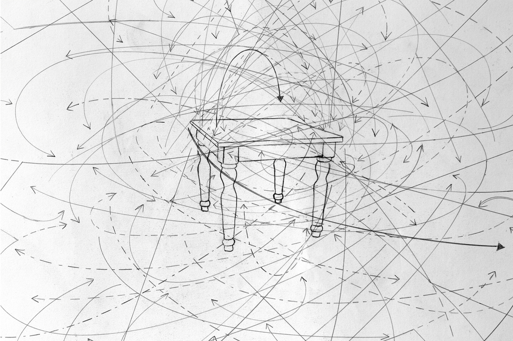 Dinner Conversation: 2 subjects, Pasta Primavera with White Wine. 05/09/2011, 9:40PM, 27:17 Minutes, Los Angeles, CA.  (detail) 2011 graphite on paper 22X30 inches Photo Courtesy of Sean Flaherty
