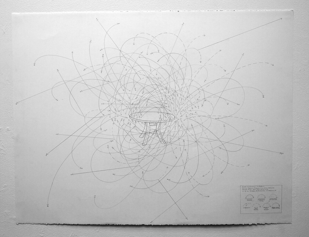 Dinner Conversation: 2 subjects, salmon sashimi, mushroom miso udon, seasoned seaweed salad, sushi rice, white wine. 03/18/12, 9:13PM, 19:42 minutes, Los Angeles, CA.  2012 graphite on paper 30x40 inches