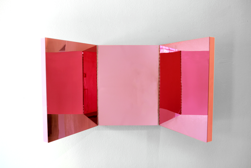 Carrel Mirror  2013 Mirror plexiglass, wood, metal hinges, Baker-Miller Pink paint 54 x 24 x 2 inches