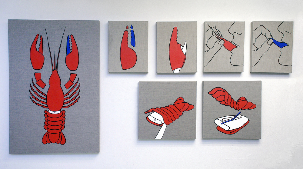 How to Eat Lobster (Blue Claw)  2011 installation of 7 acrylic on linen dimensions variable
