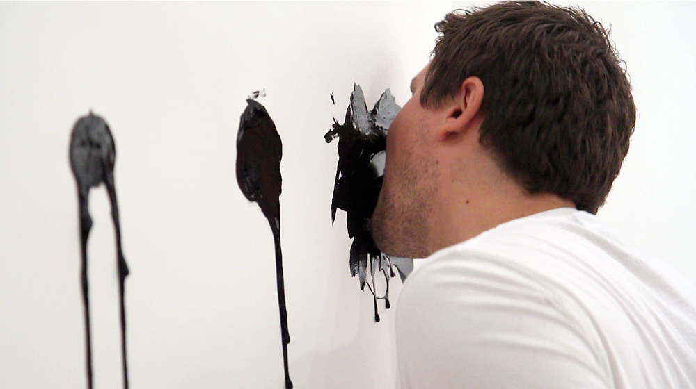 Attempting to Capture Taste (Spication, Rotation, Verrition)  Performance (Squid ink applied by tongue on paper) Duration 9:54 minutes Jaus Gallery, West Los Angeles, CA. November 10th, 2012 Video Courtesy of Sean Flaherty