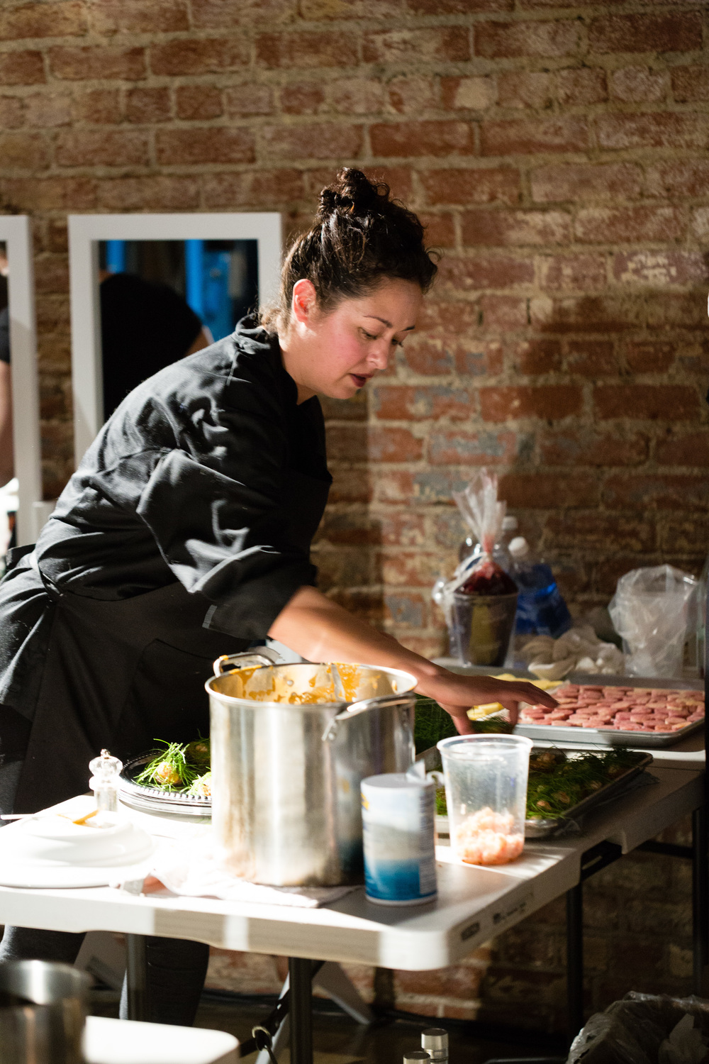 The Fleiss Feast  2016 Interactive dinner collaboration (chef preparation) In collaboration with Los Angeles Eats Itself, Chef Teresa Montańo and Chef Mia Wasilevich March 6th, 2016, LA River Studio, Los Angeles, CA photo courtesy of Michael Underwood