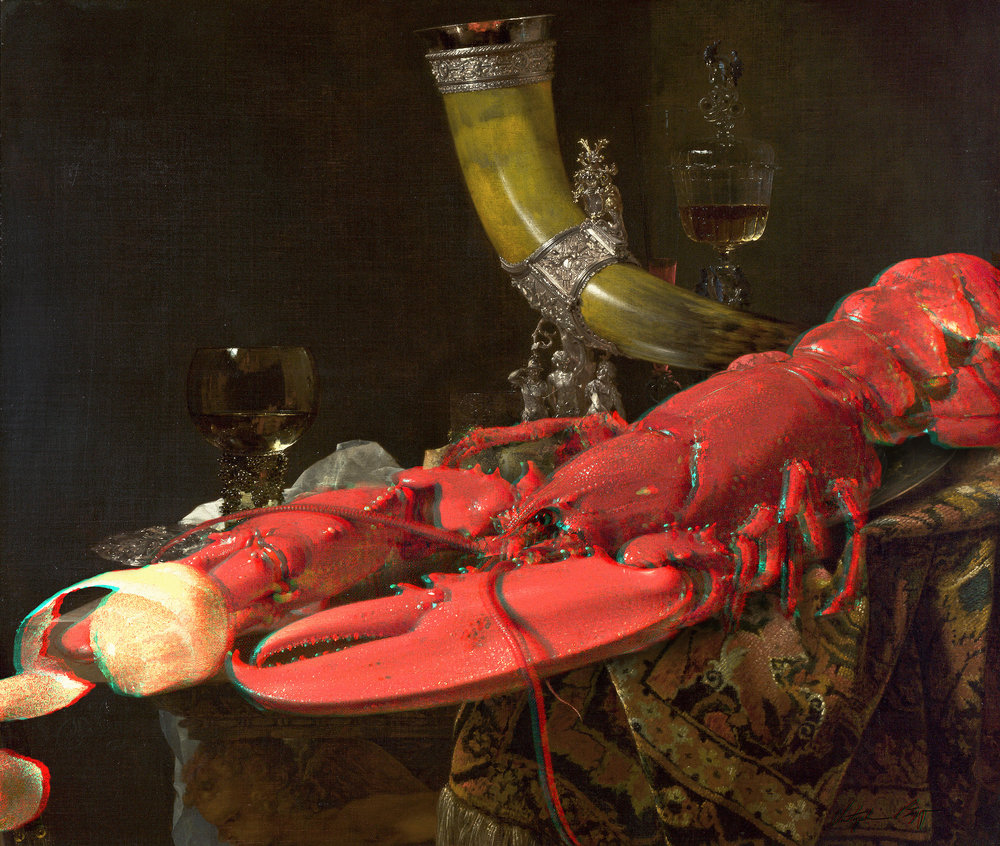 Lobster Anaglyph #3 (Still Life with Drinking-Horn, Willem Kalf, 1653)  2017 3D anaglyph digital UV adhesive wall fabric, 3D anaglyph glasses 34 × 40.2 inches