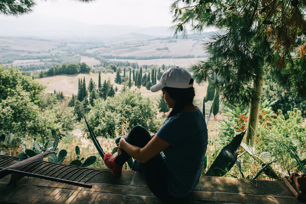 The view we had while we ate lunch in Tuscany with peacocks and cats walking around freely.