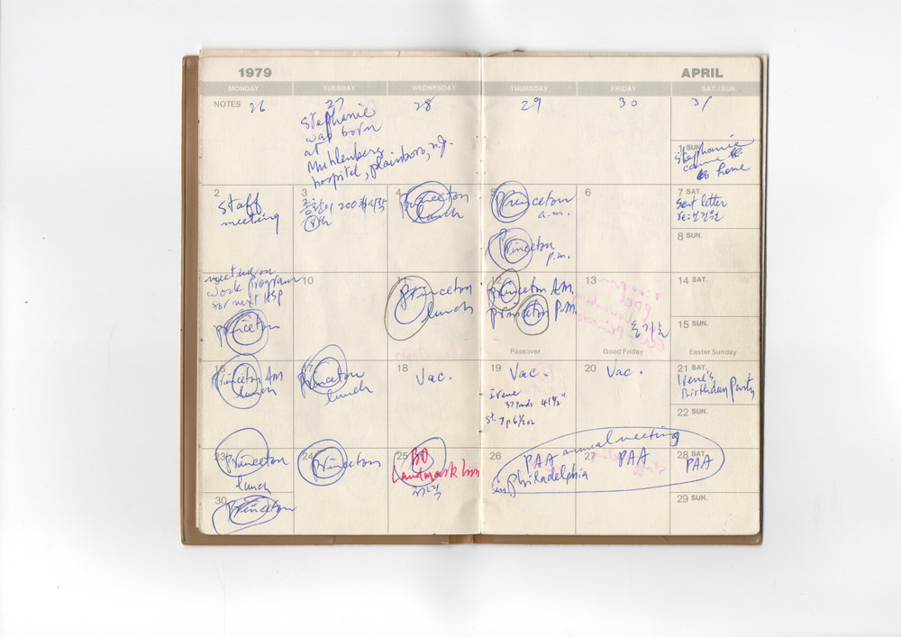 My father's datebook from 1979. My birth is crammed in there between office meetings.