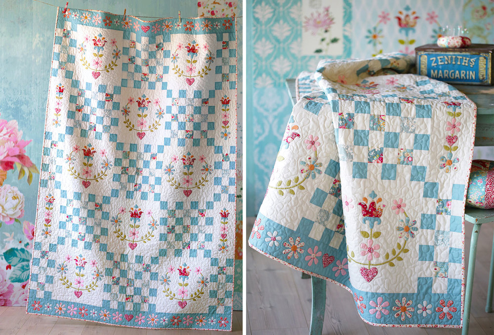 The Tilda Cabbage Rose quilt pattern. Image from Tilda's World blog.