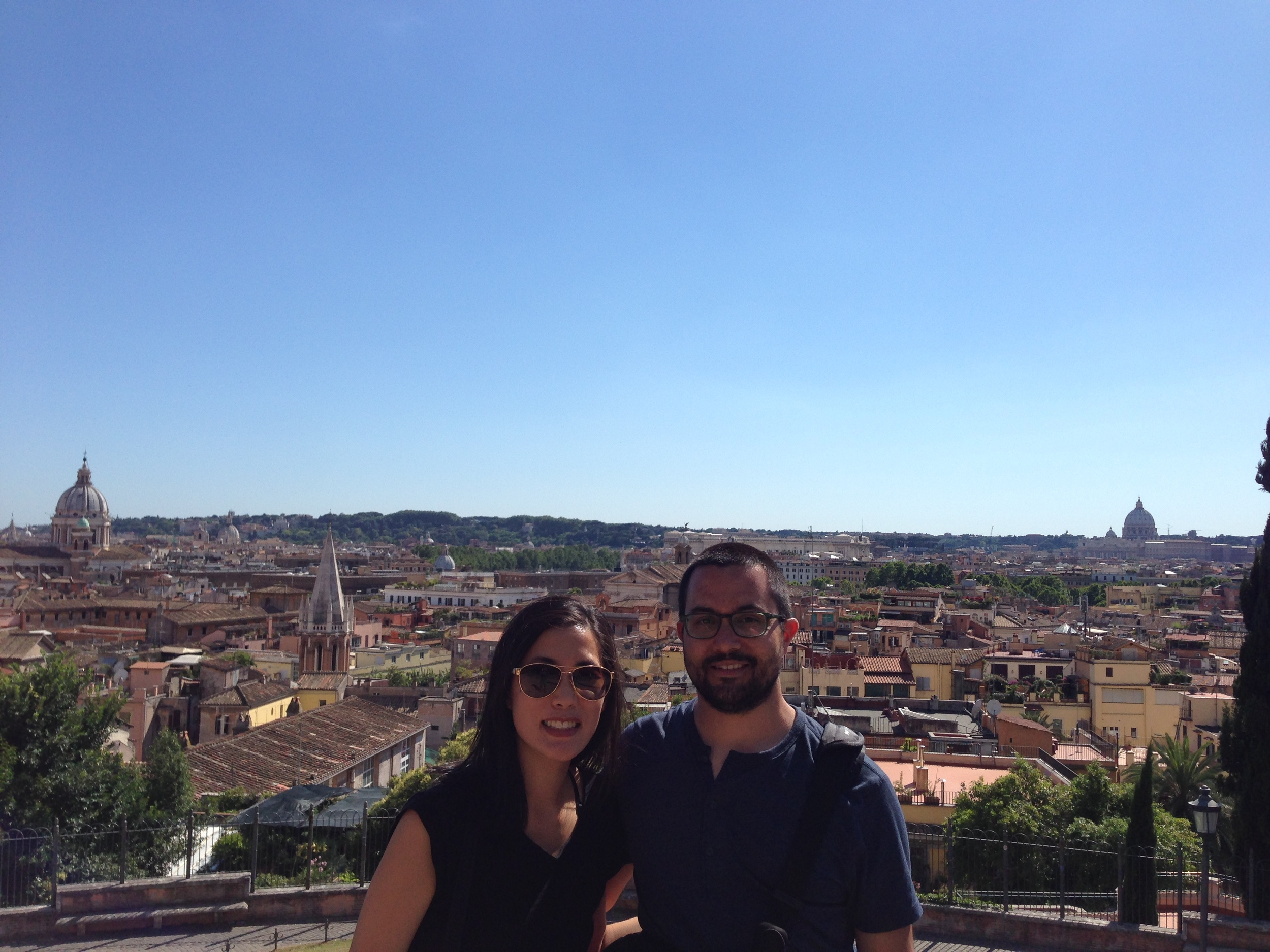 Overlooking the city from the Borghese Gardens.