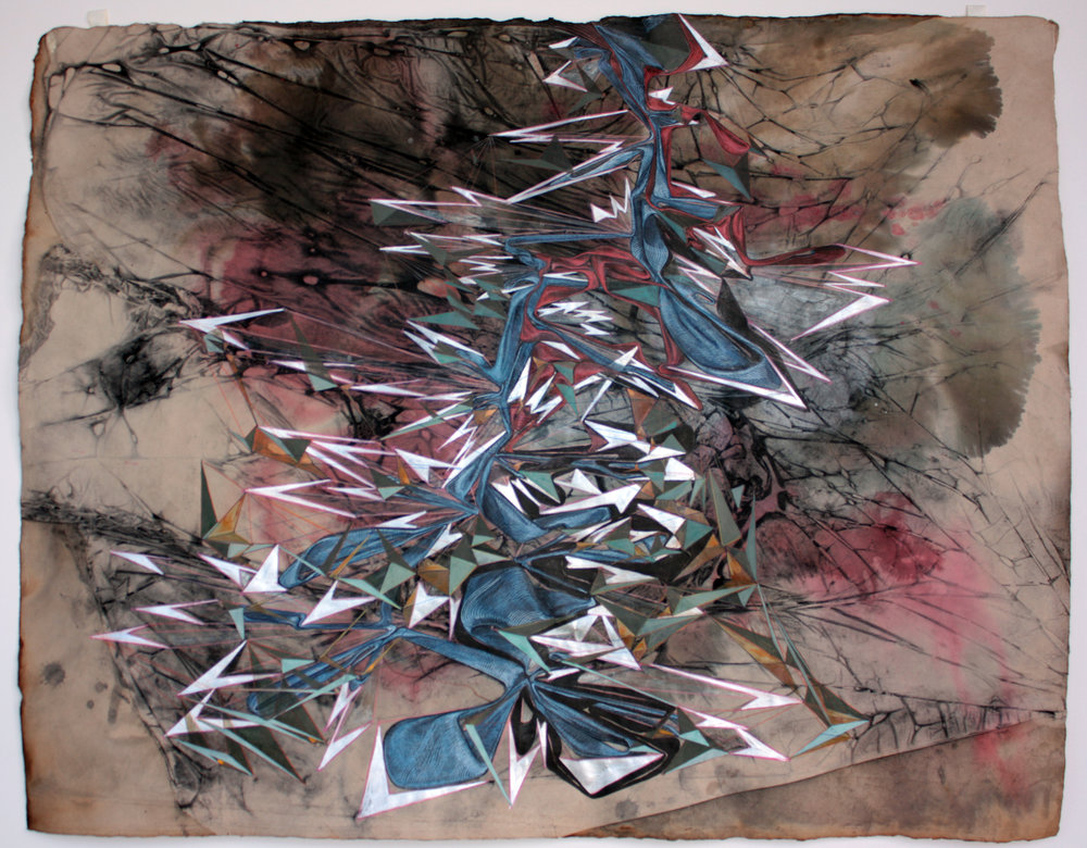 'The Spectra of Light Emitted', mixed media on paper, 2010
