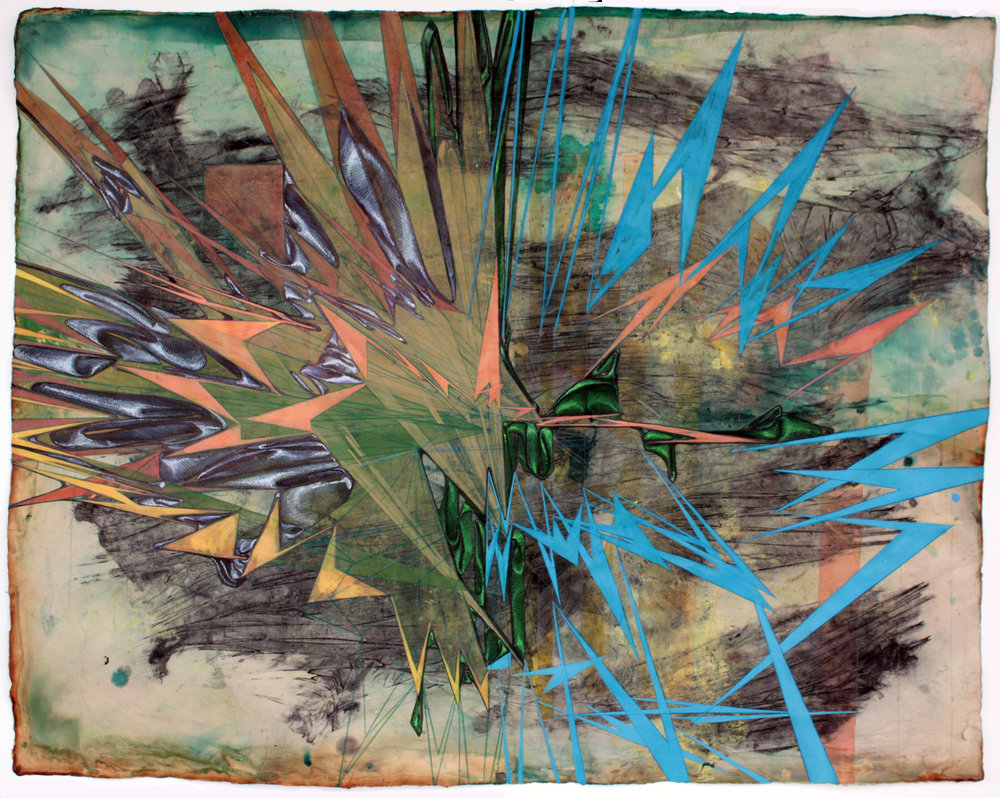 'All Matter is the Remainder of an Asymmetric Explosion', mixed media on paper, 2010