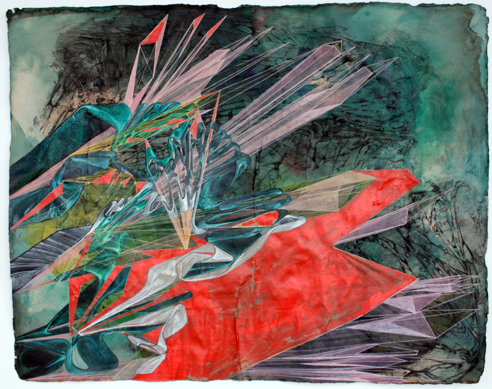 'Elements of Complex Vector Space', mixed media on paper, 2010