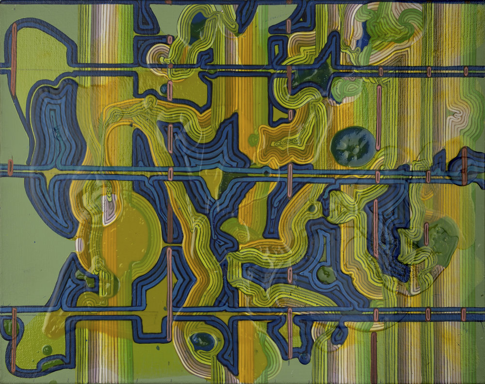 "' Insouciant Grid', 10"" x 14"", acrylic on canvas"