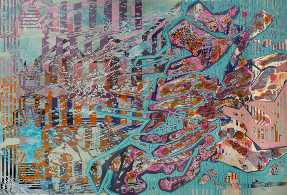 "'Inverse Strata', approx. 96"" x 50"", acrylic on canvas"