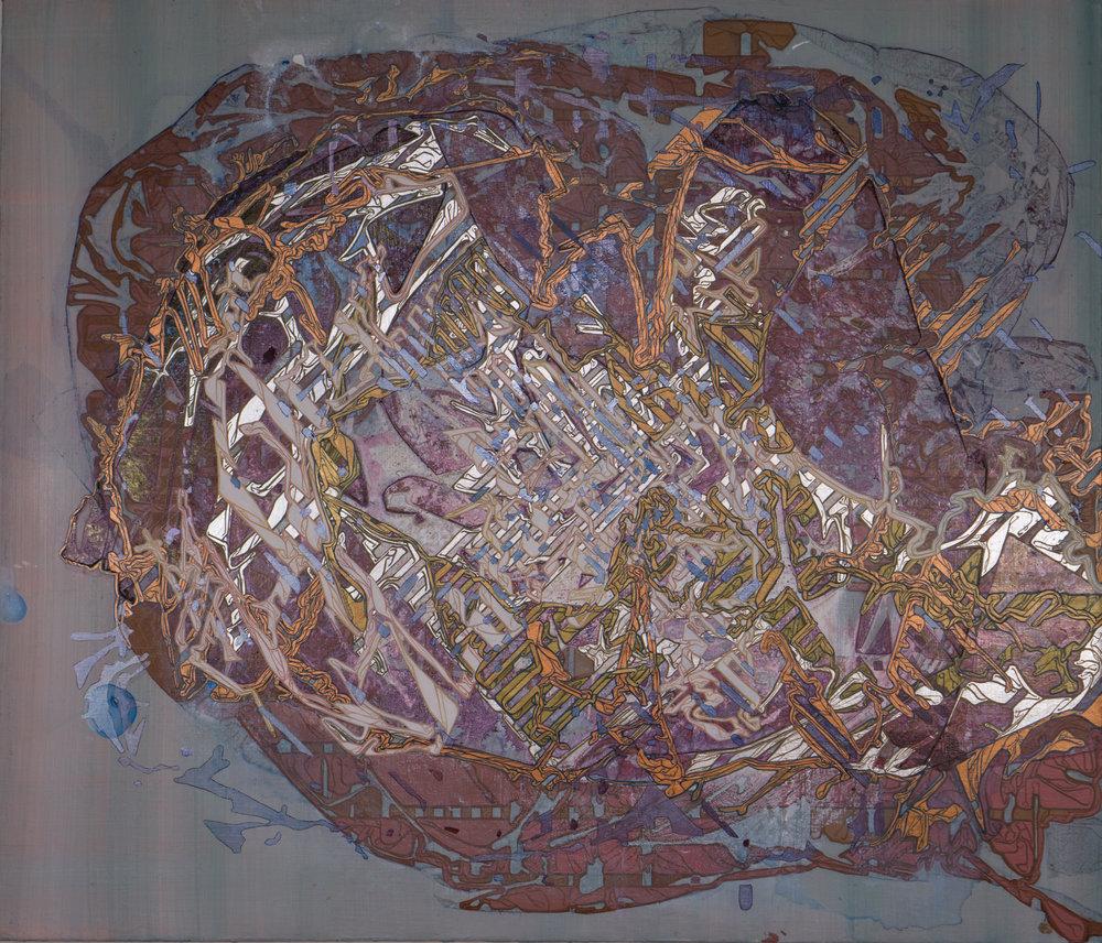 "'Shrapnel Map', 25"" x 29.5"", acrylic on canvas"