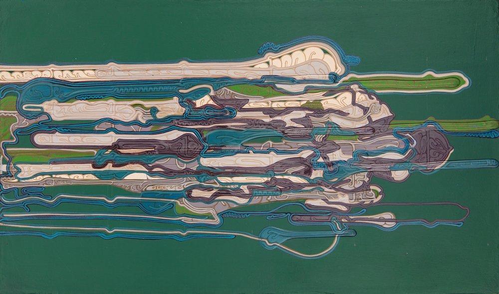 "'Chiasmus', 10"" x 17"", acrylic on canvas"