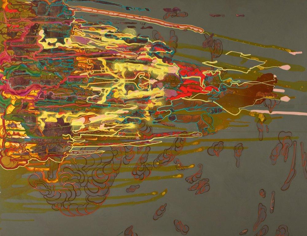 """'Neon Effulgence', 48""""x 60"""",acrylic on canvas"""
