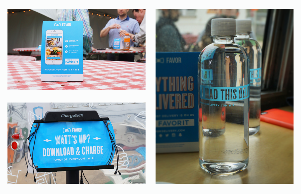 print marketing, charging stands & even water bottles