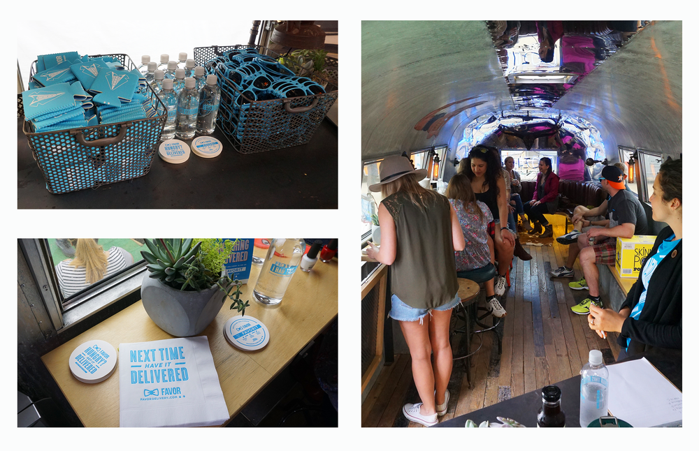 inside the air streamer, guests were treated to snacks, swag, complimentary finger nail painting, massages and even tattoos!!
