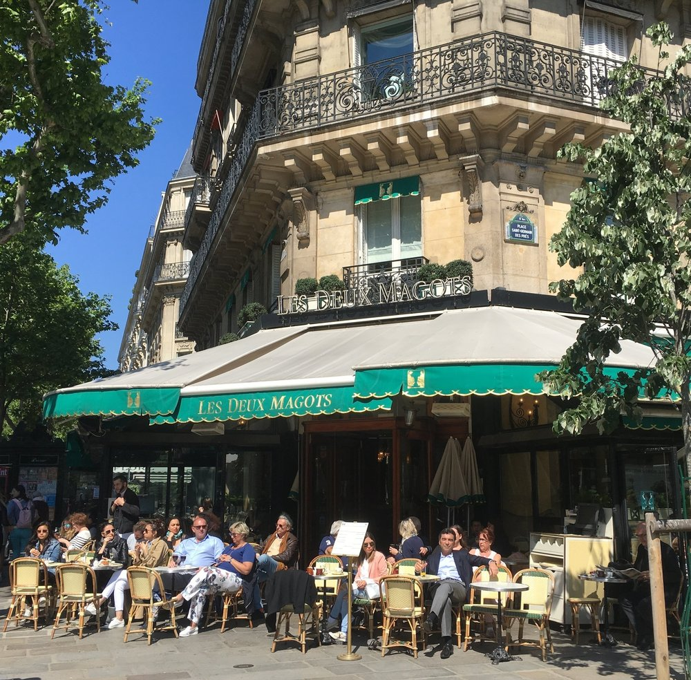 Lunch at Les Deux Magots, one of Hemingway's Left Bank haunts