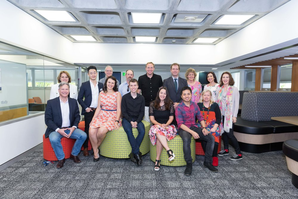 group photo seated L-R Dr Tim Baker, Katie Rowney, Brett Michael Orr, Michelle Saftich, David Bobis, Cass Moriarty Standing L-R: Margot de Groot, Benjamin Law, Richard Carroll, Gordon Clarke, Andrew Bird, David Gillespie, Robyn Osbourne, Melina Mallos, me