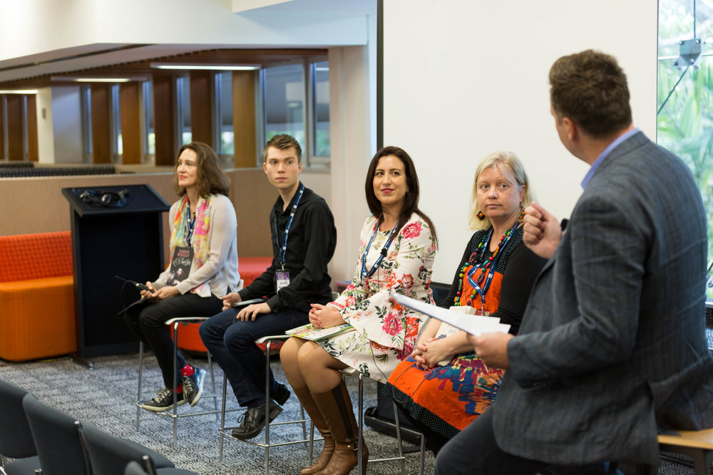 Panellists with me: Melina Mallos, Cass Moriarty and Brett Michael Orr and our moderator was Dr Kari Gislason, Associate Professor, Creative Industries Faculty, QUT.
