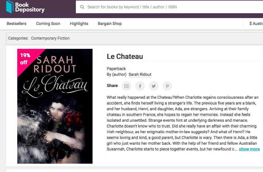 http://www.bookdepository.com/Le-Chateau-Sarah-Ridout/9781760404413?utm_source=SV-Body&utm_medium=email-Service&utm_term=Le-Chateau_title&utm_content=Main-book&utm_campaign=EMWBIS-In-Stock