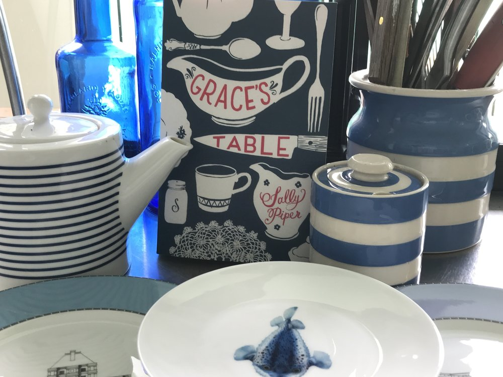 Still life in blues: Grace's Table communes in my kitchen