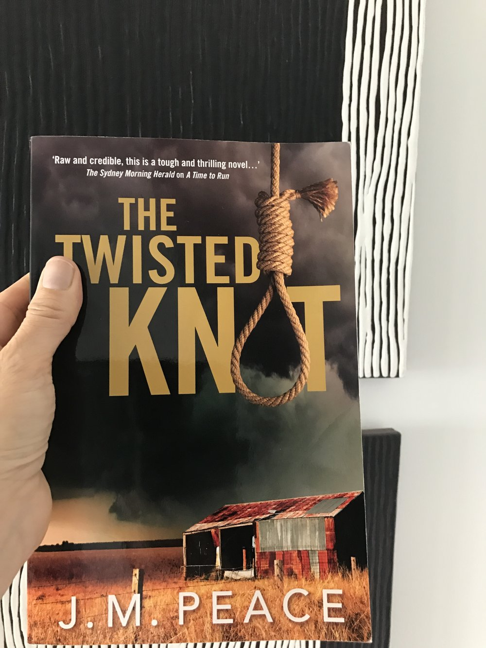 The dramatic cover of  A Twisted Knot  near some of my art!