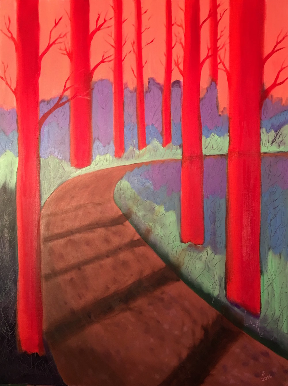 - Red TreesOil on Canvas30