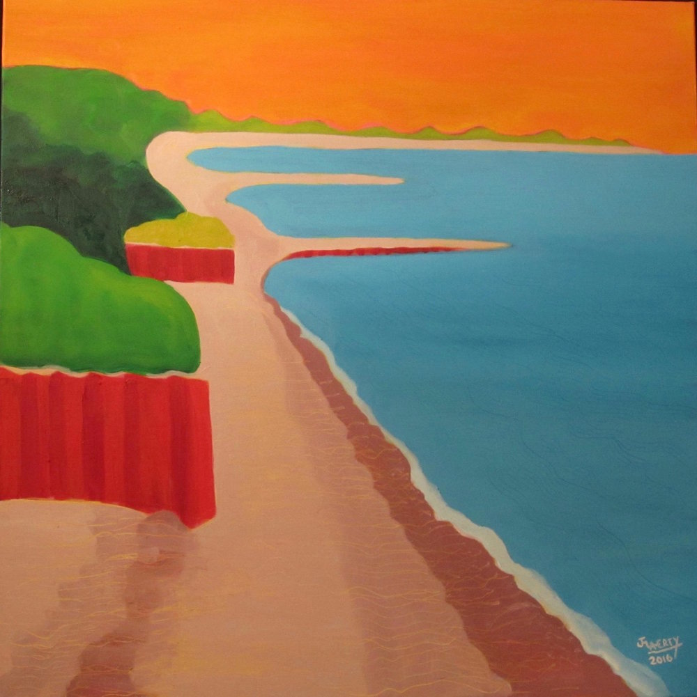 - Red Seawalls Under Marmalade Sky30 by 30Oil on CanvasResiding with Allison in Portsmouth, NH