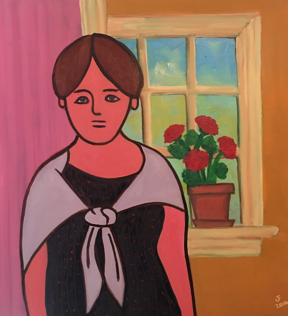 Girl Standing Between Rooms - Oil on Canvas30 x 30Now residing in Portsmouth, NH with Kimberley Rae