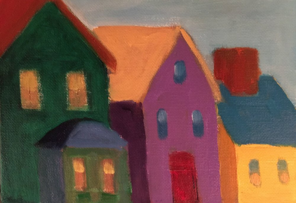 Purple House Study - Oil on Canvas Panel5 x 7Whereabouts unknown