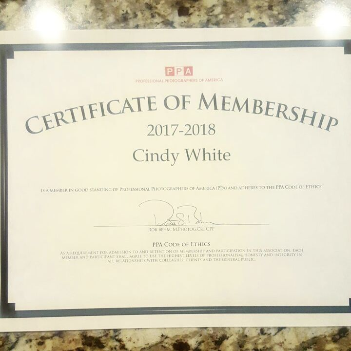 Cindy White - Certificate of Membership from the PPA.