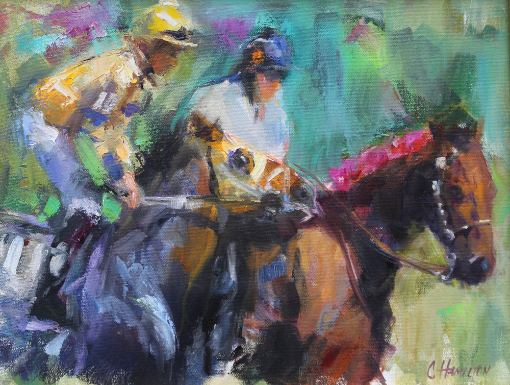 """POST PARADE"" ACRYLIC PAINTING BY CISSY HAMILTON"