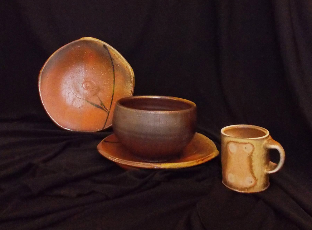 WOOD FIRED PLATES, BOWL, EXPRESSO CUP BY MATTHEW GADDIE