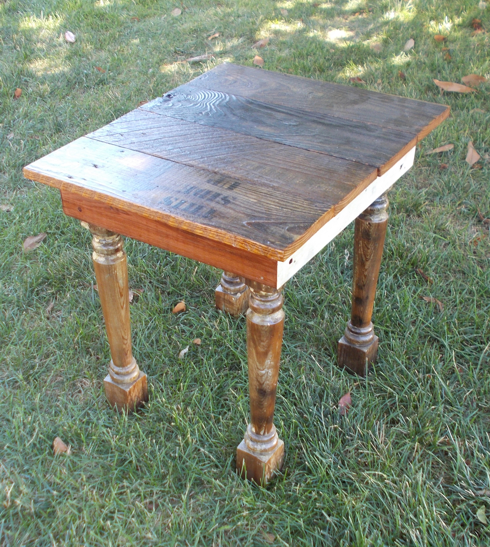 REPURPOSED WOOD TABLE, 25 INCHES HIGH, BY ROBERT LOVE