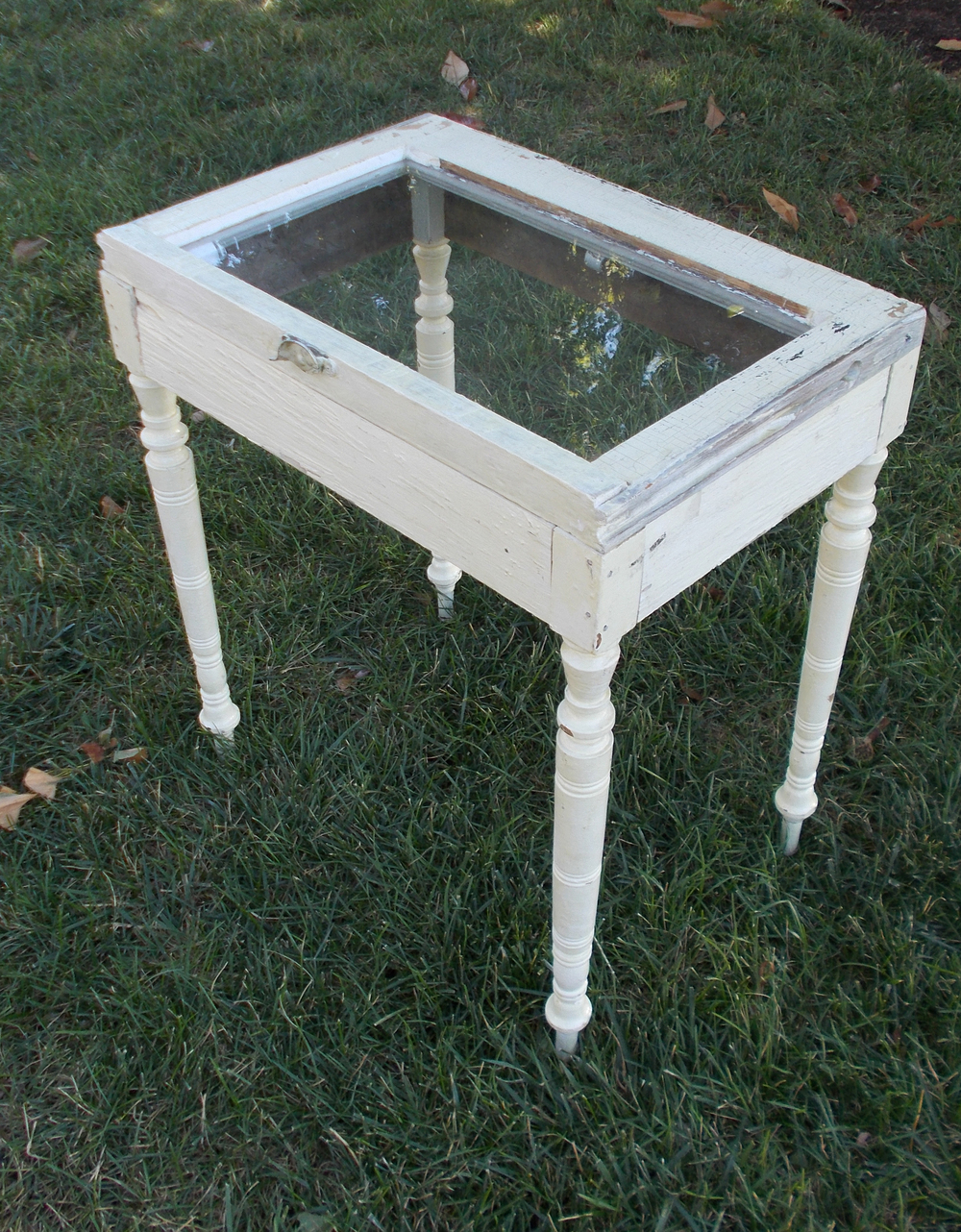 REPURPOSED WINDOW TABLE, 27 INCHES HIGH, BY ROBERT LOVE