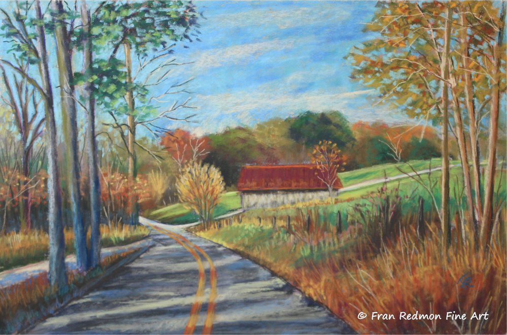 In retirement, Fran Redmon has returned to her first love of creating her own art. Raised in rural Kentucky with a love of its natural beauty is at the root of her inspiration. She took up pastels which she felt best enables her to depict her love of the pastoral scenes of Kentucky.