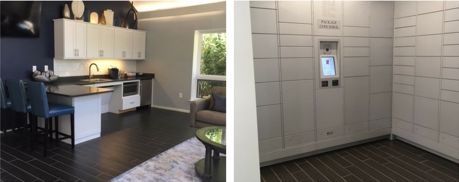 New Clubhouse Kitchen (Left) & Package Concierge System (Right)