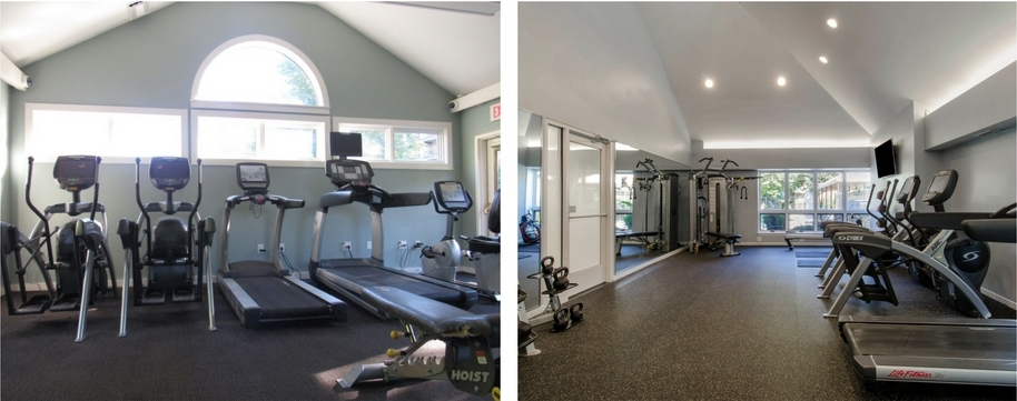 Fitness Center Before Renovation (Left) & After Renovation (Right)