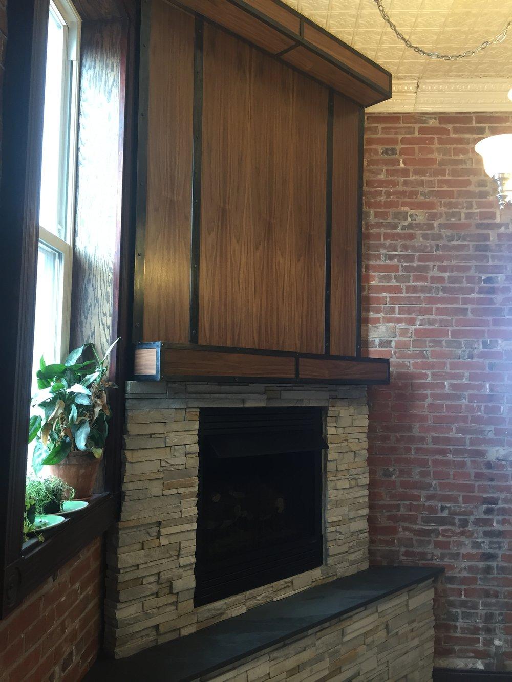 Fireplace Redux with walnut, steel, stacked stone & slate