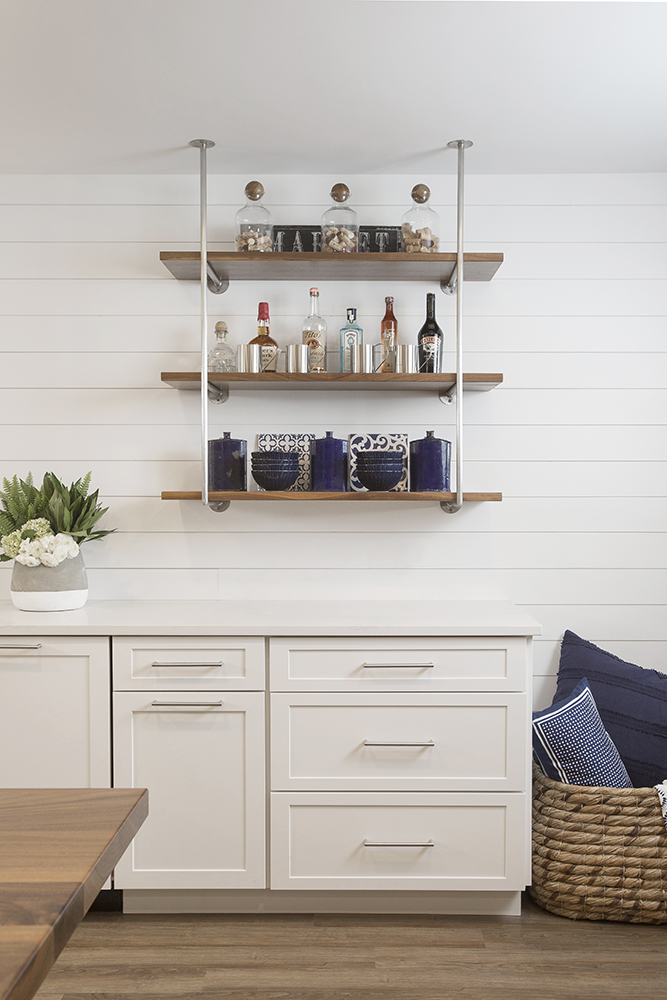 Bespoke Kitchen Shelves in Stainless Steel and Walnut  Photo by  Megan Thiele